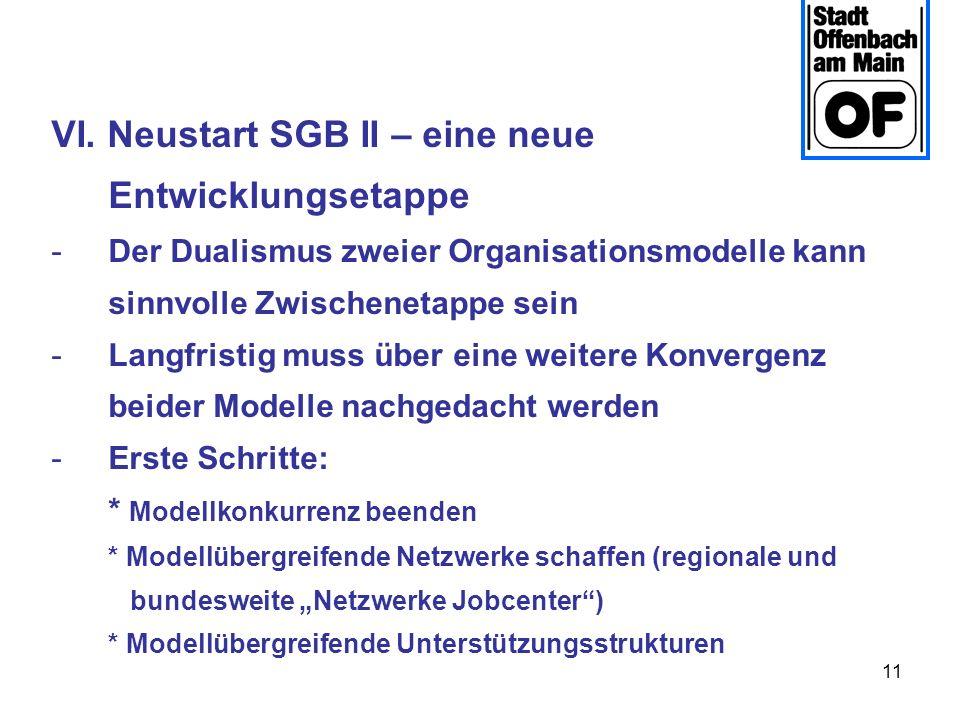 11 VI. Neustart SGB II – eine neue Entwicklungsetappe -Der Dualismus zweier Organisationsmodelle kann sinnvolle Zwischenetappe sein -Langfristig muss
