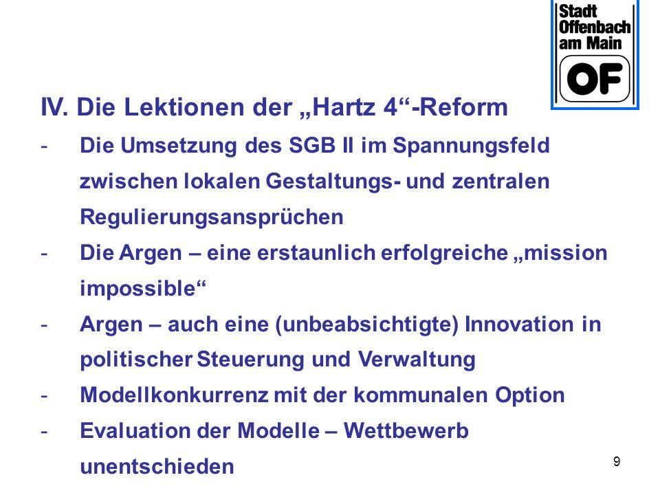9 IV. Die Lektionen der Hartz 4-Reform -Die Umsetzung des SGB II im Spannungsfeld zwischen lokalen Gestaltungs- und zentralen Regulierungsansprüchen -