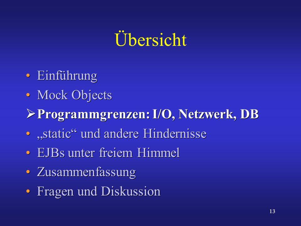 13 Übersicht Einführung Mock Objects Programmgrenzen: I/O, Netzwerk, DB static und andere Hindernisse EJBs unter freiem Himmel Zusammenfassung Fragen