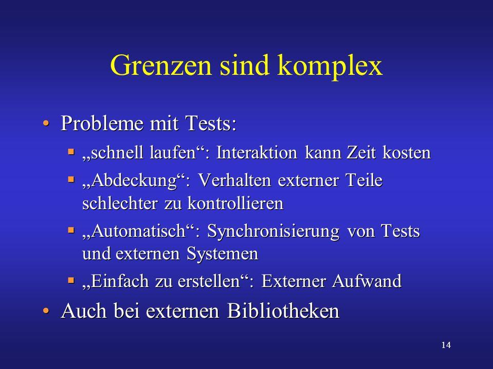 14 Grenzen sind komplex Probleme mit Tests: schnell laufen: Interaktion kann Zeit kosten Abdeckung: Verhalten externer Teile schlechter zu kontrollier