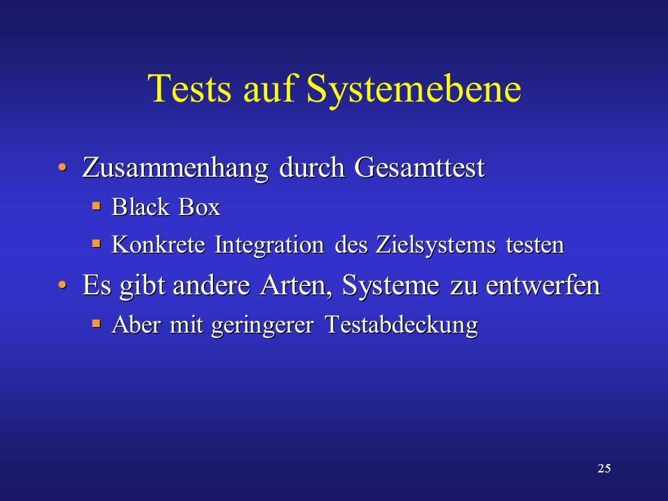 25 Tests auf Systemebene Zusammenhang durch Gesamttest Black Box Konkrete Integration des Zielsystems testen Es gibt andere Arten, Systeme zu entwerfe