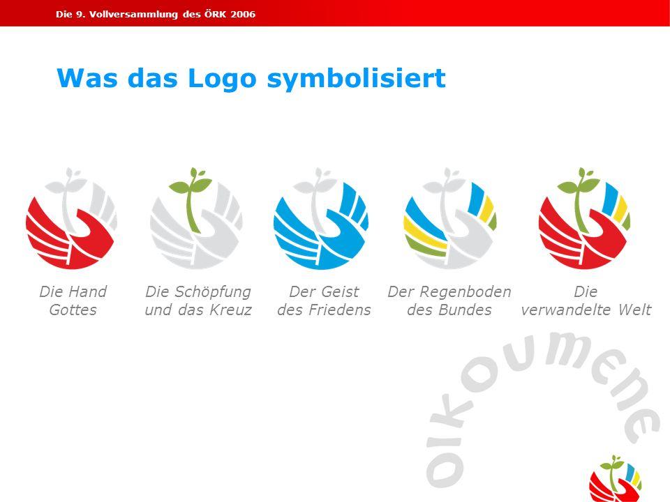 Die 9. Vollversammlung des ÖRK 2006 Was das Logo symbolisiert Die Hand Gottes Die Schöpfung und das Kreuz Der Geist des Friedens Der Regenboden des Bu