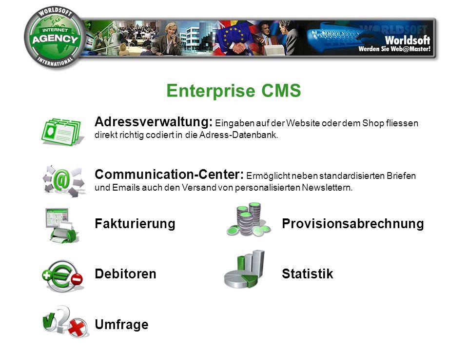 Adressverwaltung: Eingaben auf der Website oder dem Shop fliessen direkt richtig codiert in die Adress-Datenbank. Communication-Center: Ermöglicht neb