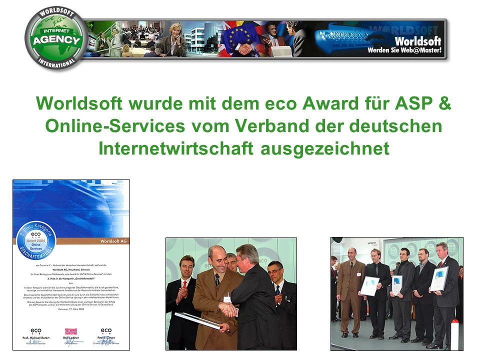 Worldsoft wurde mit dem eco Award für ASP & Online-Services vom Verband der deutschen Internetwirtschaft ausgezeichnet