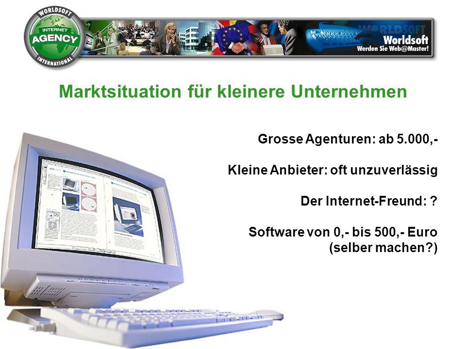 Grosse Agenturen: ab 5.000,- Kleine Anbieter: oft unzuverlässig Der Internet-Freund: ? Software von 0,- bis 500,- Euro (selber machen?) Marktsituation