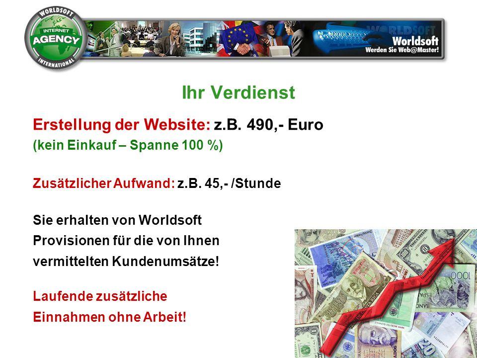 Ihr Verdienst Erstellung der Website: z.B. 490,- Euro (kein Einkauf – Spanne 100 %) Zusätzlicher Aufwand: z.B. 45,- /Stunde Sie erhalten von Worldsoft