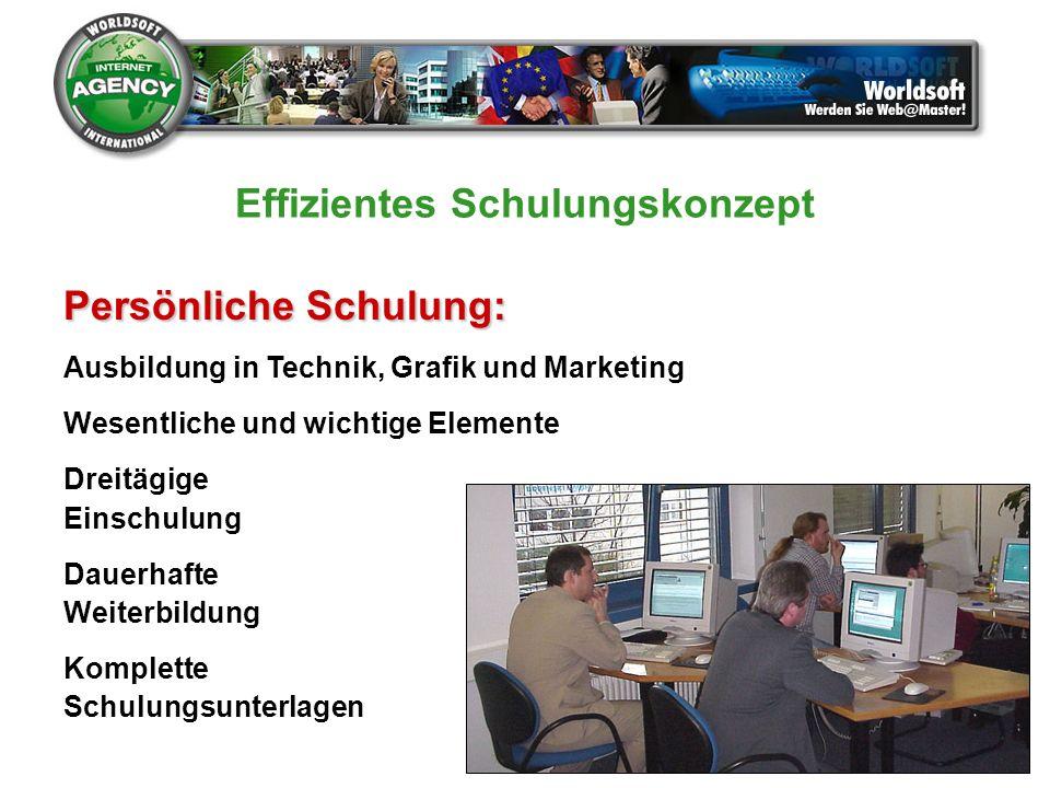 Persönliche Schulung: Ausbildung in Technik, Grafik und Marketing Wesentliche und wichtige Elemente Dreitägige Einschulung Dauerhafte Weiterbildung Ko