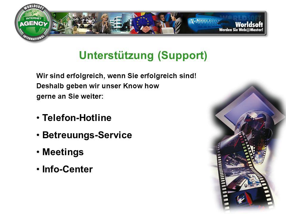 Unterstützung (Support) Wir sind erfolgreich, wenn Sie erfolgreich sind! Deshalb geben wir unser Know how gerne an Sie weiter: Telefon-Hotline Betreuu