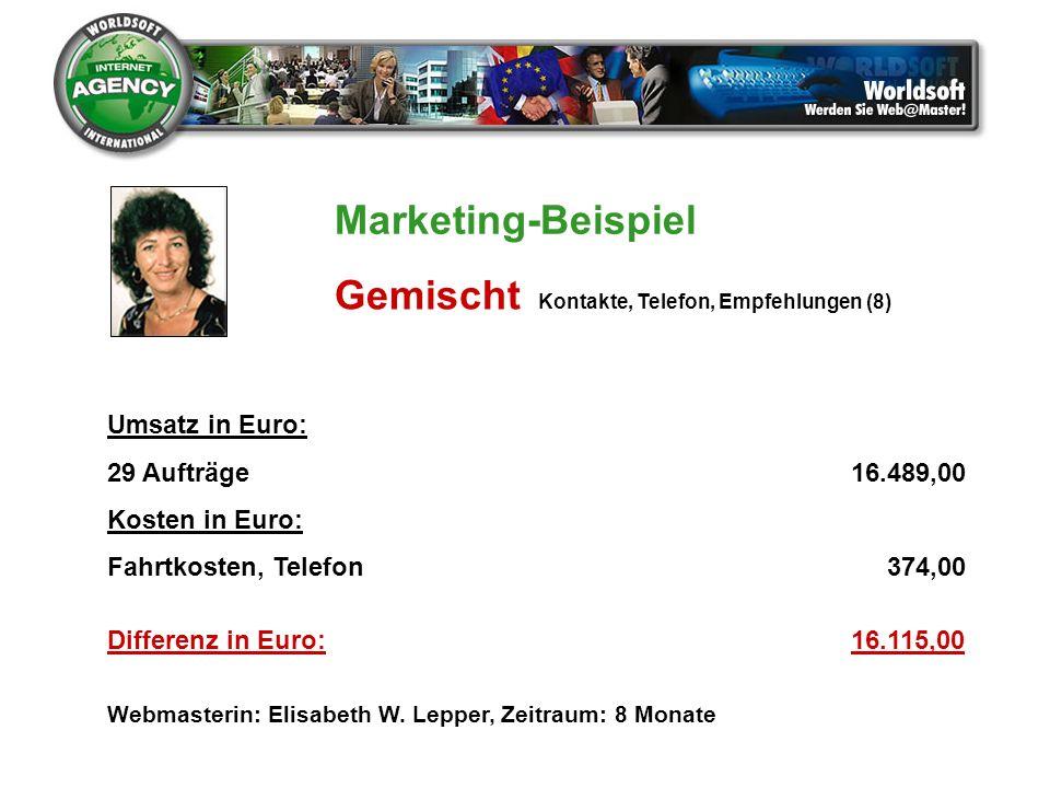 Umsatz in Euro: 29 Aufträge16.489,00 Kosten in Euro: Fahrtkosten, Telefon 374,00 Differenz in Euro:16.115,00 Webmasterin: Elisabeth W. Lepper, Zeitrau