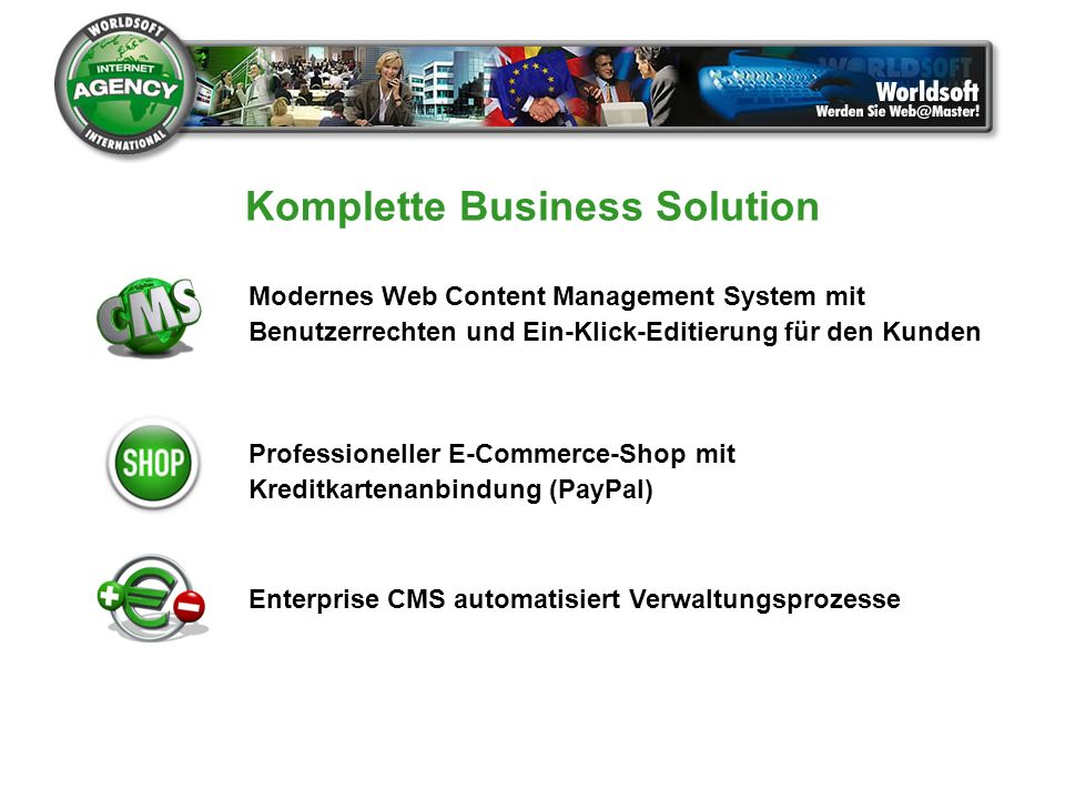 Komplette Business Solution Enterprise CMS automatisiert Verwaltungsprozesse Modernes Web Content Management System mit Benutzerrechten und Ein-Klick-