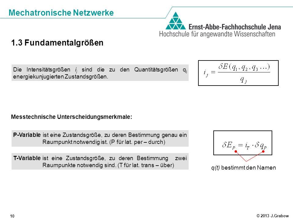 Mechatronische Netzwerke 10 © 2013 J.Grabow 1.3 Fundamentalgrößen Messtechnische Unterscheidungsmerkmale: P-Variable ist eine Zustandsgröße, zu deren