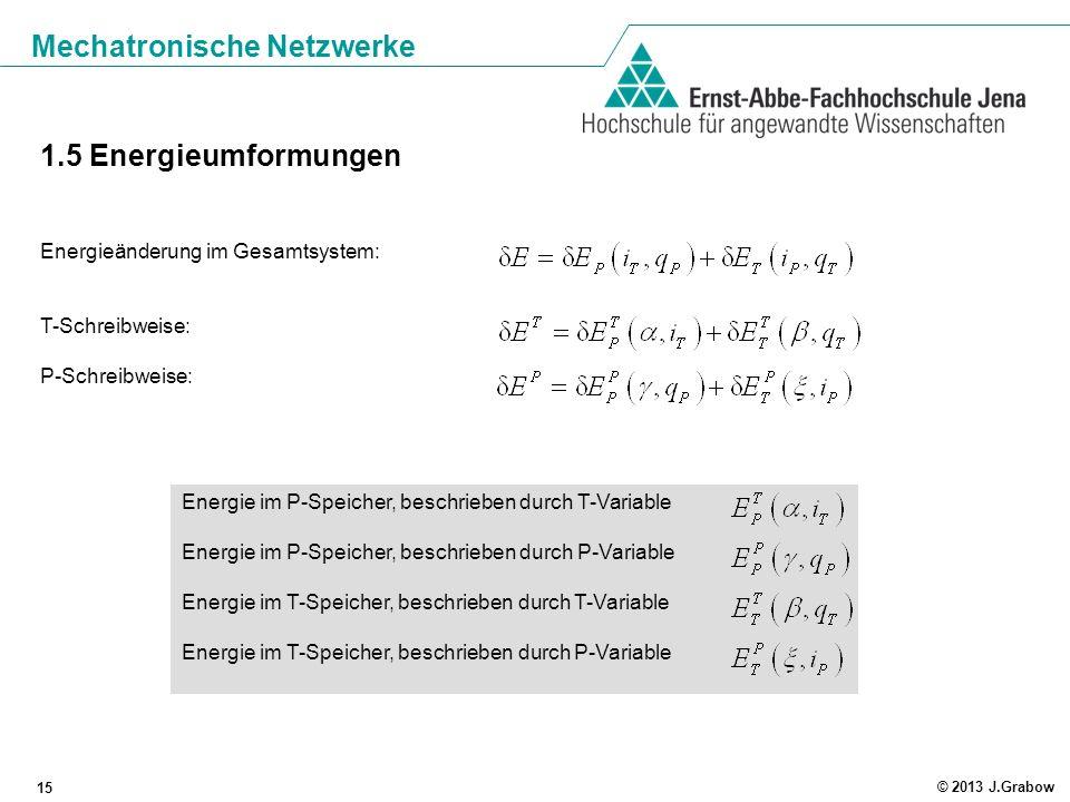 Mechatronische Netzwerke 15 © 2013 J.Grabow 1.5 Energieumformungen Energieänderung im Gesamtsystem: T-Schreibweise: P-Schreibweise: Energie im P-Speic
