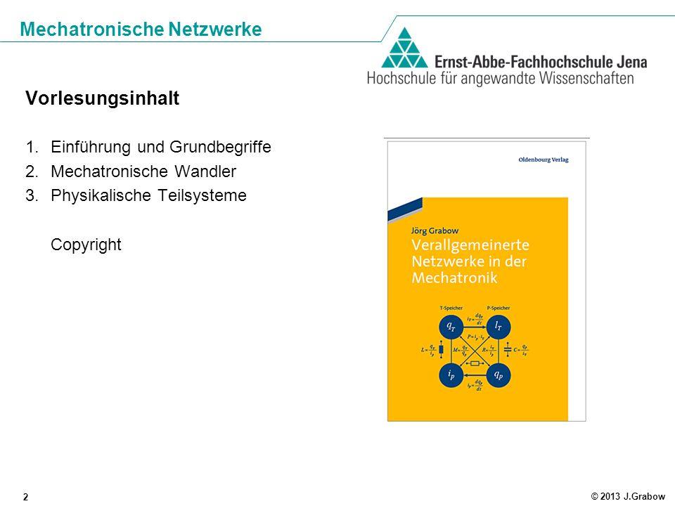 Mechatronische Netzwerke 2 © 2013 J.Grabow Vorlesungsinhalt 1.Einführung und Grundbegriffe 2.Mechatronische Wandler 3.Physikalische Teilsysteme Copyri