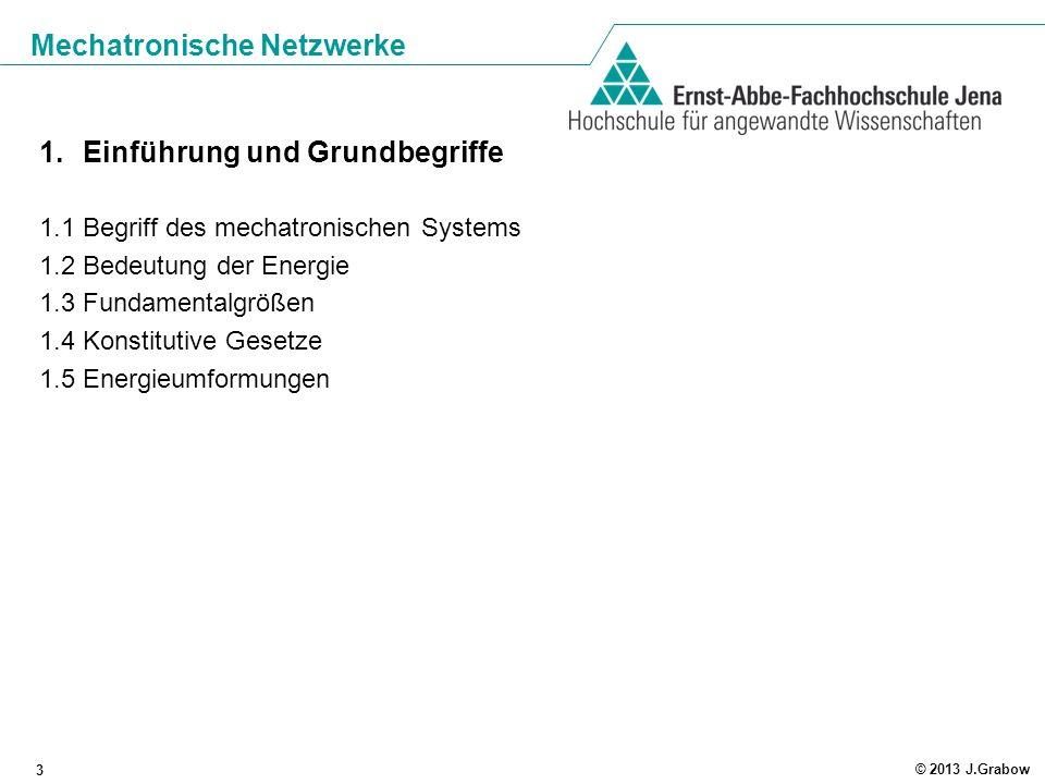 Mechatronische Netzwerke 3 © 2013 J.Grabow 1.Einführung und Grundbegriffe 1.1 Begriff des mechatronischen Systems 1.2 Bedeutung der Energie 1.3 Fundam