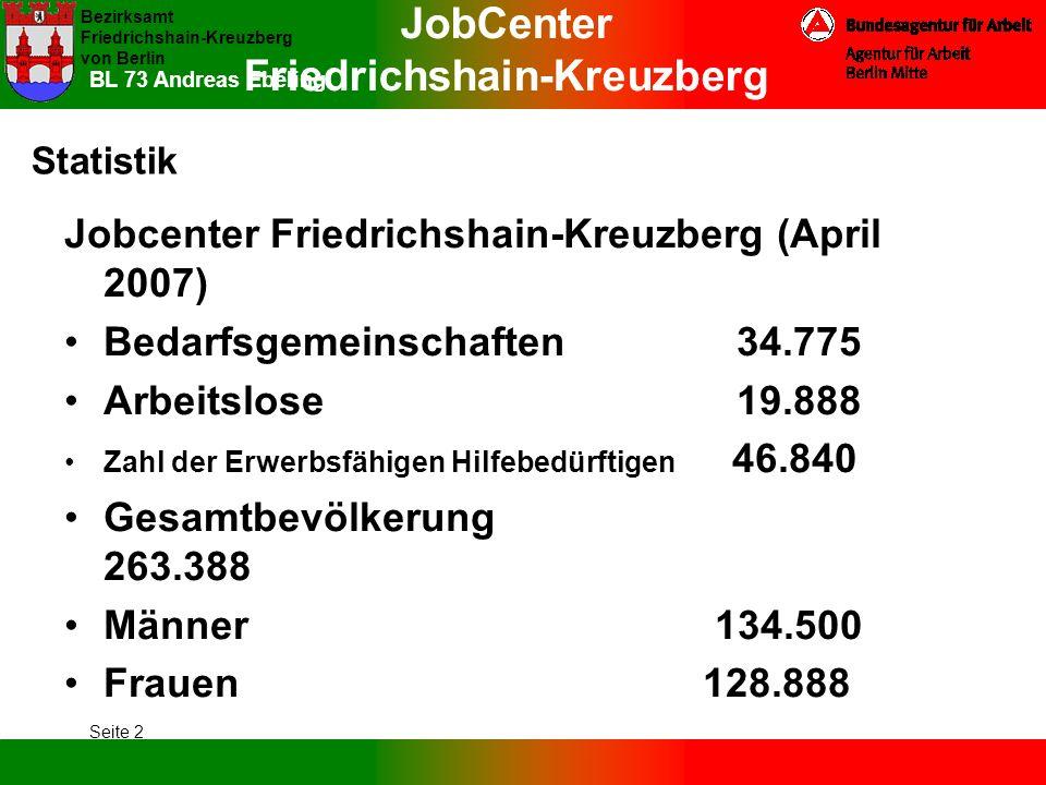 JobCenter Friedrichshain-Kreuzberg Bezirksamt Friedrichshain-Kreuzberg von Berlin Seite 2 BL 73 Andreas Ebeling Statistik Jobcenter Friedrichshain-Kre