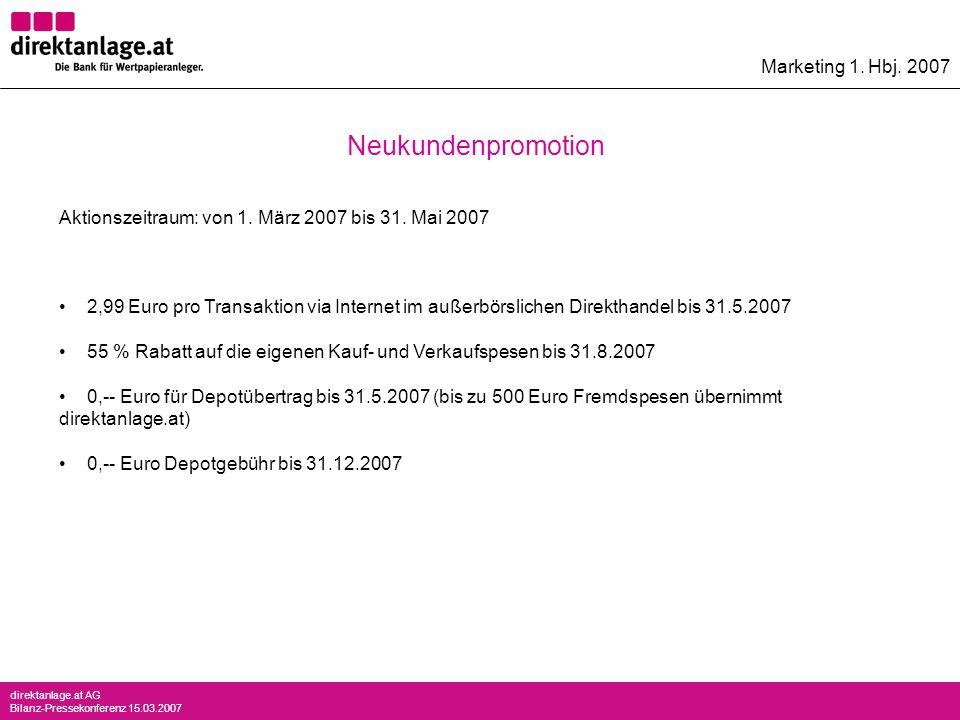 direktanlage.at AG Bilanz-Pressekonferenz 15.03.2007 Marketing 1. Hbj. 2007 Aktionszeitraum: von 1. März 2007 bis 31. Mai 2007 2,99 Euro pro Transakti