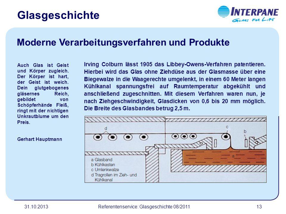 31.10.201313 Irving Colburn lässt 1905 das Libbey-Owens-Verfahren patentieren. Hierbei wird das Glas ohne Ziehdüse aus der Glasmasse über eine Biegewa