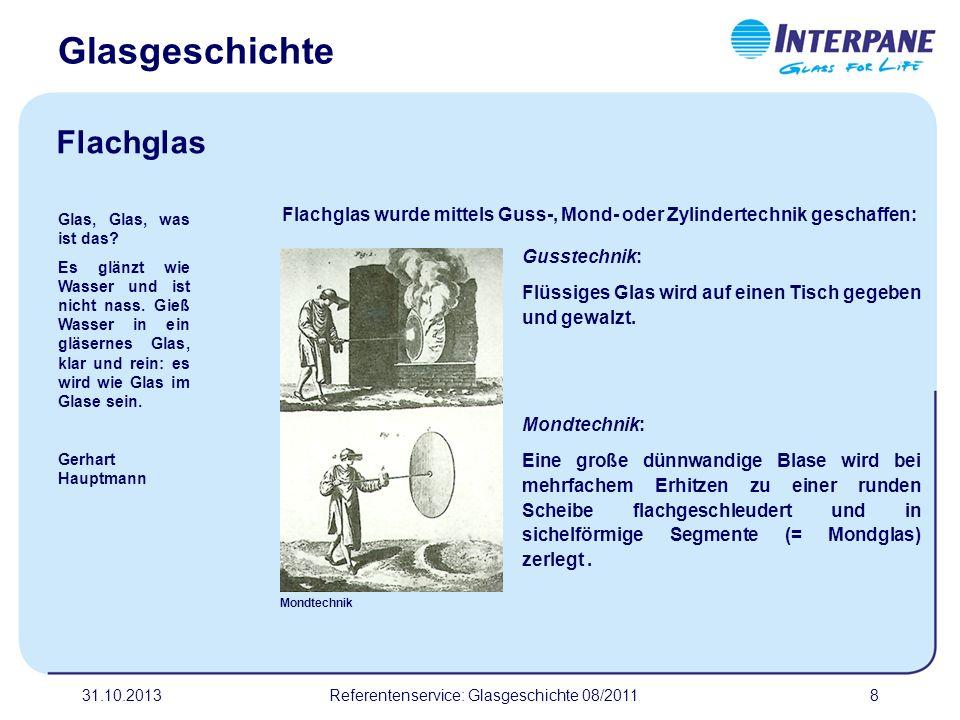 31.10.20138 Flachglas wurde mittels Guss-, Mond- oder Zylindertechnik geschaffen: Mondtechnik Glas, Glas, was ist das? Es glänzt wie Wasser und ist ni