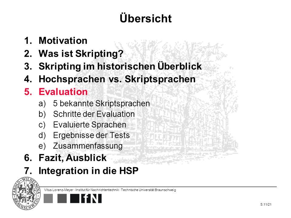 Vitus Lorenz-Meyer · Institut für Nachrichtentechnik · Technische Universität Braunschweig S.11/21 Übersicht 1.Motivation 2.Was ist Skripting? 3.Skrip