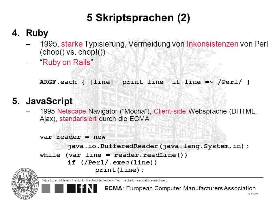 Vitus Lorenz-Meyer · Institut für Nachrichtentechnik · Technische Universität Braunschweig S.13/21 5 Skriptsprachen (2) 4.Ruby –1995, starke Typisieru