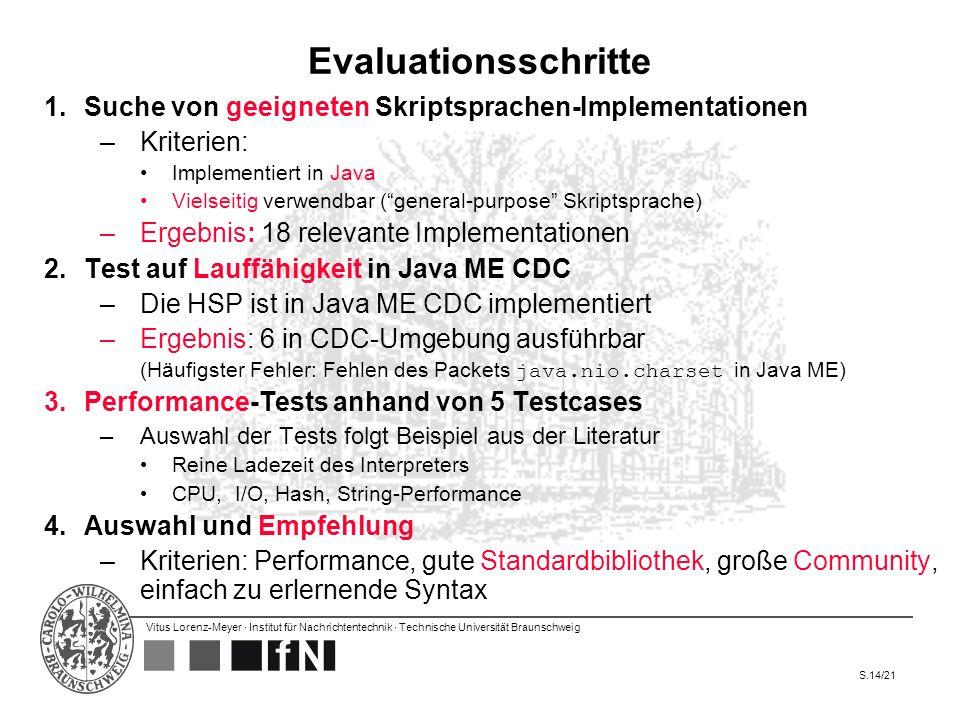 Vitus Lorenz-Meyer · Institut für Nachrichtentechnik · Technische Universität Braunschweig S.14/21 Evaluationsschritte 1.Suche von geeigneten Skriptsp