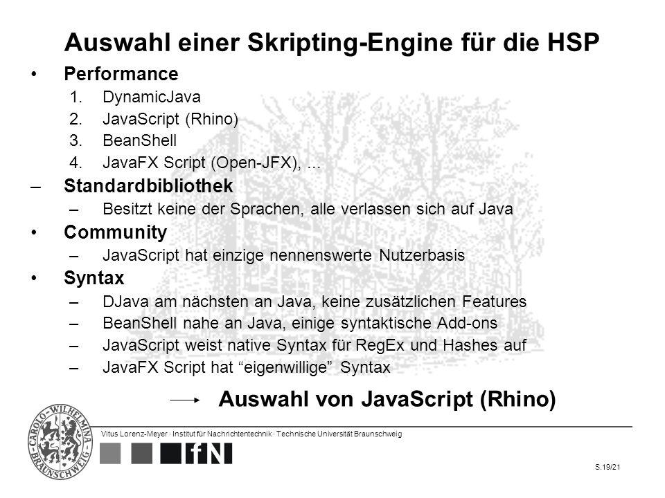 Vitus Lorenz-Meyer · Institut für Nachrichtentechnik · Technische Universität Braunschweig S.19/21 Auswahl einer Skripting-Engine für die HSP Performa