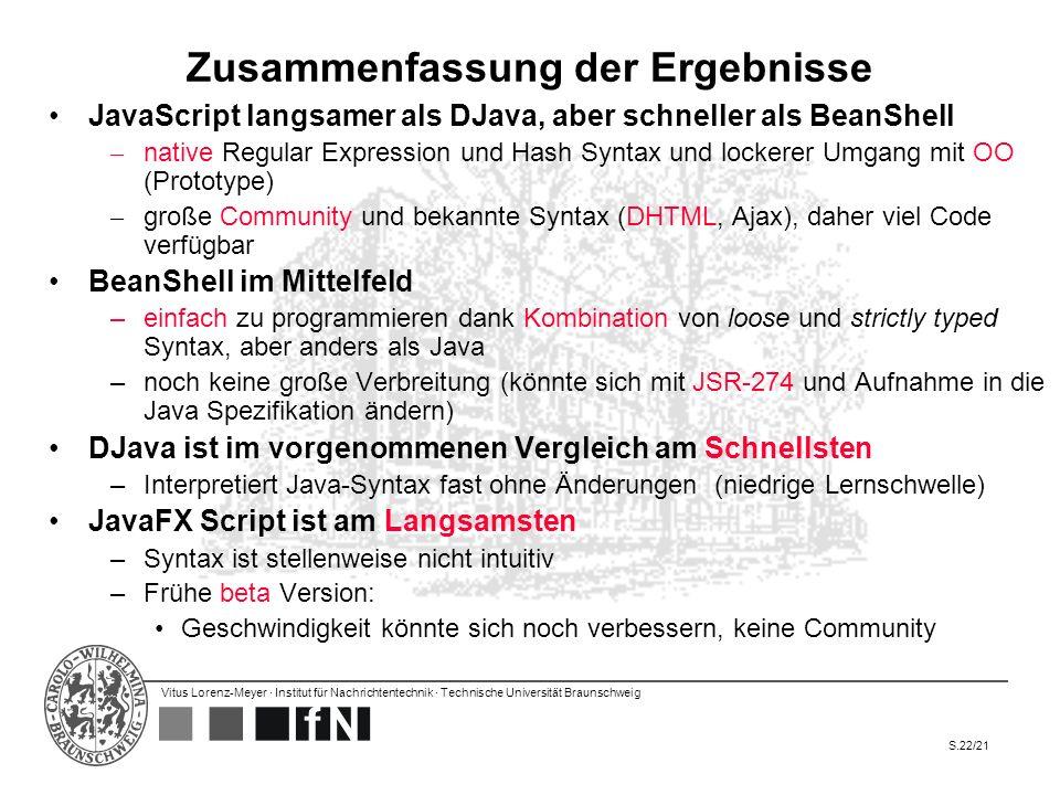 Vitus Lorenz-Meyer · Institut für Nachrichtentechnik · Technische Universität Braunschweig S.22/21 Zusammenfassung der Ergebnisse JavaScript langsamer