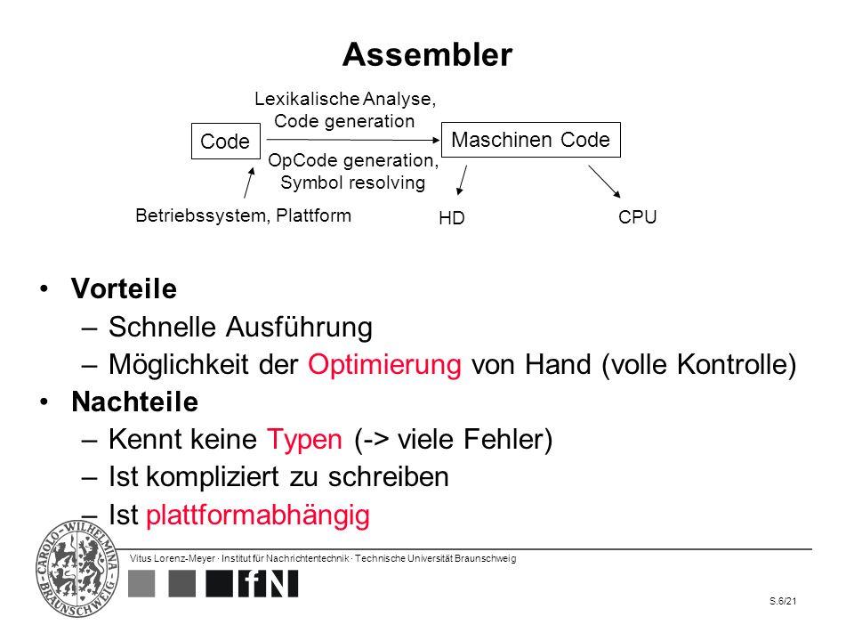 Vitus Lorenz-Meyer · Institut für Nachrichtentechnik · Technische Universität Braunschweig S.6/21 Assembler Vorteile –Schnelle Ausführung –Möglichkeit