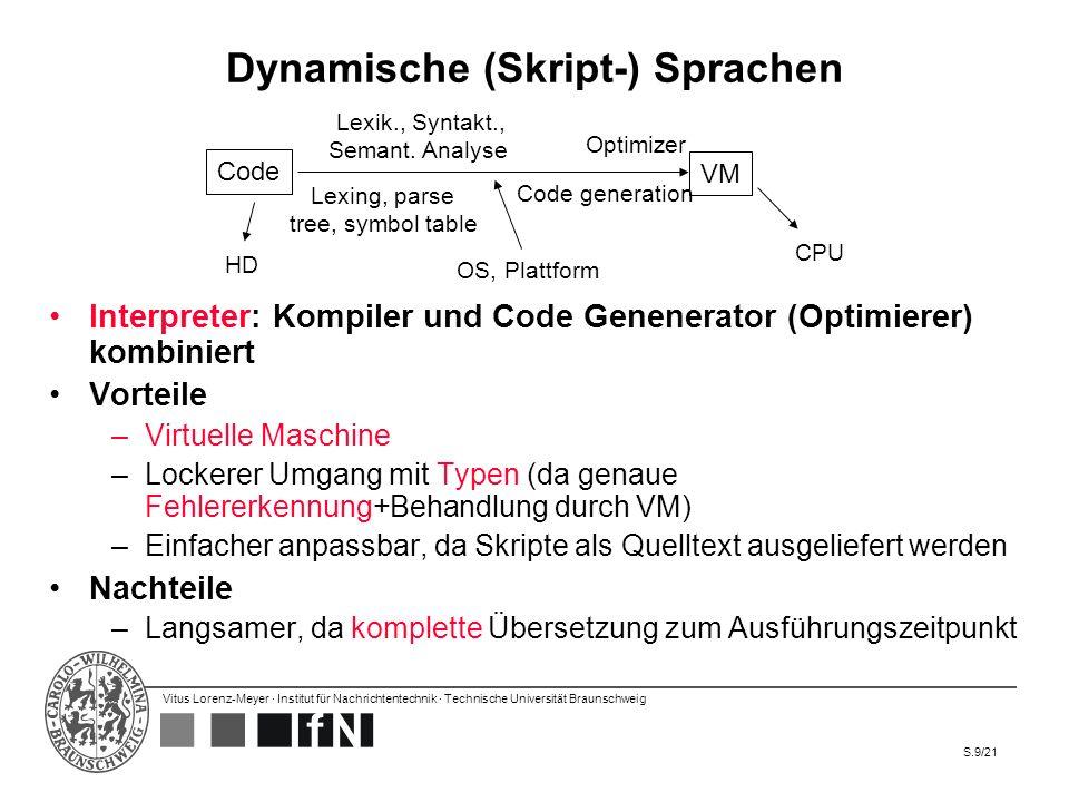 Vitus Lorenz-Meyer · Institut für Nachrichtentechnik · Technische Universität Braunschweig S.20/21 Fazit, Ausblick Skriptsprachen werden immer wichtiger –Wird verstärkt durch Zentralisation von Software, die nur noch per Browser-Interface benutzbar ist Es bestehen 5 Ansätze, Java skripting-freundlicher zu gestalten: –JavaFX Script –BeanShell (JSR-274) –Groovy (JSR-241) –Java Skripting API (JSR-223) –Neuer Bytecode für loosely typed Variablen (JSR-292) Skriptsprachen sind praktisch für schnelles Ausprobieren in Code Sicherheit und formale Verifikation sind wichtiges Forschungsthema Die Zukunft gehört Sprachen, die einen Kompromiss zwischen Entwicklungsaufwand und Verifizierbarkeit (Sicherheit) bieten