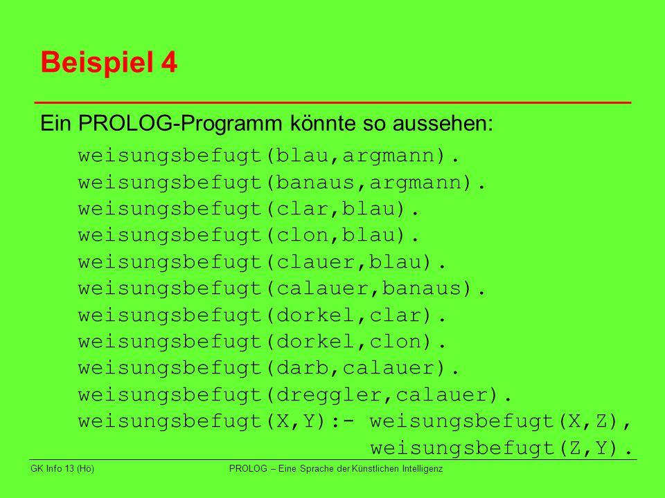 GK Info 13 (Hö)PROLOG – Eine Sprache der Künstlichen Intelligenz Beispiel 4 Ein PROLOG-Programm könnte so aussehen: weisungsbefugt(blau,argmann). weis