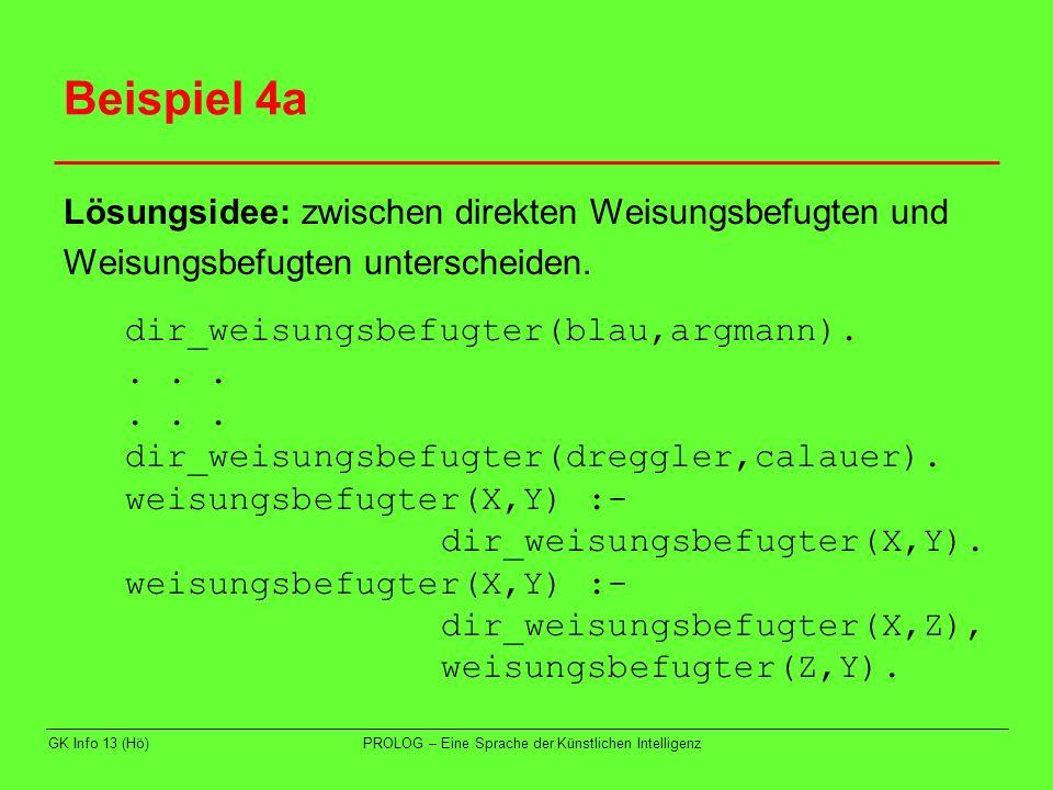 GK Info 13 (Hö)PROLOG – Eine Sprache der Künstlichen Intelligenz Beispiel 4a Lösungsidee: zwischen direkten Weisungsbefugten und Weisungsbefugten unte
