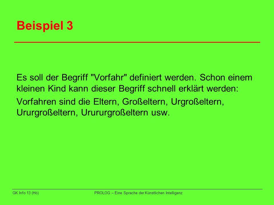 GK Info 13 (Hö)PROLOG – Eine Sprache der Künstlichen Intelligenz Beispiel 3 In PROLOG: grosseltern(X,V):- eltern(X,E), eltern(E,V).
