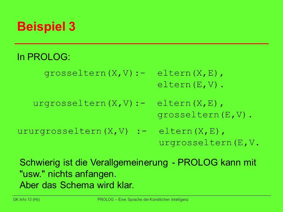 GK Info 13 (Hö)PROLOG – Eine Sprache der Künstlichen Intelligenz Beispiel 3 In PROLOG: grosseltern(X,V):- eltern(X,E), eltern(E,V). urgrosseltern(X,V)