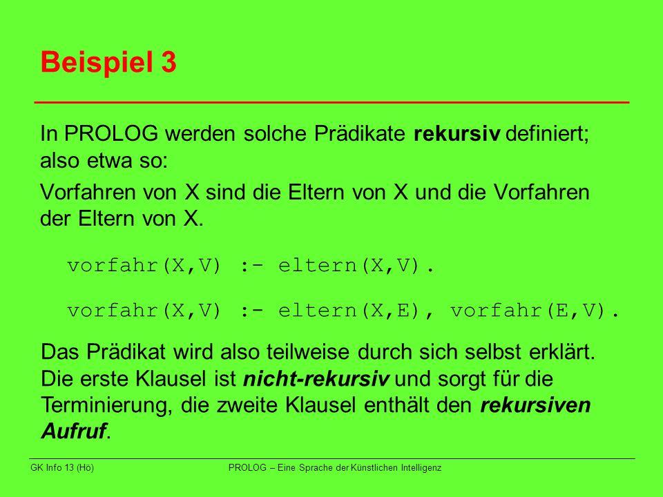 GK Info 13 (Hö)PROLOG – Eine Sprache der Künstlichen Intelligenz Beispiel 3 In PROLOG werden solche Prädikate rekursiv definiert; also etwa so: Vorfah