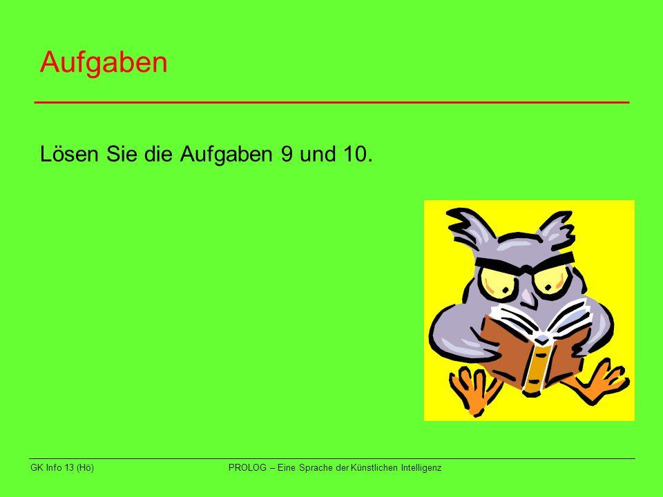 GK Info 13 (Hö)PROLOG – Eine Sprache der Künstlichen Intelligenz Beispiel 4 Gegeben ist folgende Hierarchie von Weisungsbefugten in einer Firma: In der Firma gilt die Regel: der Weisungsbefugte eines Weisungsbefugten ist weisungsbefugt.