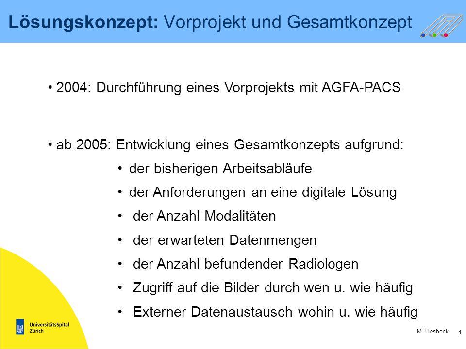 4 M. Uesbeck Lösungskonzept: Vorprojekt und Gesamtkonzept ab 2005: Entwicklung eines Gesamtkonzepts aufgrund: der bisherigen Arbeitsabläufe der Anford