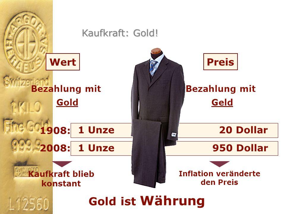 Wert Preis Gold ist Währung Bezahlung mit Gold Bezahlung mit Geld 1908: 2008: 1 Unze 20 Dollar 1 Unze 950 Dollar Kaufkraft blieb konstant Inflation ve