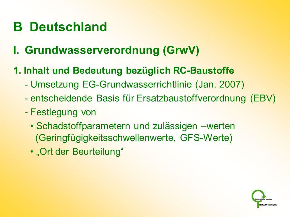 B Deutschland I.Grundwasserverordnung (GrwV) 1. Inhalt und Bedeutung bezüglich RC-Baustoffe - Umsetzung EG-Grundwasserrichtlinie (Jan. 2007) - entsche