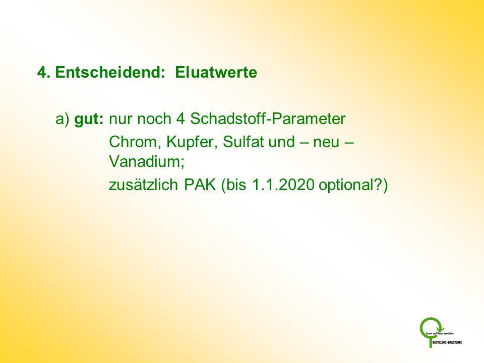 4. Entscheidend: Eluatwerte a) gut: nur noch 4 Schadstoff-Parameter Chrom, Kupfer, Sulfat und – neu – Vanadium; zusätzlich PAK (bis 1.1.2020 optional?