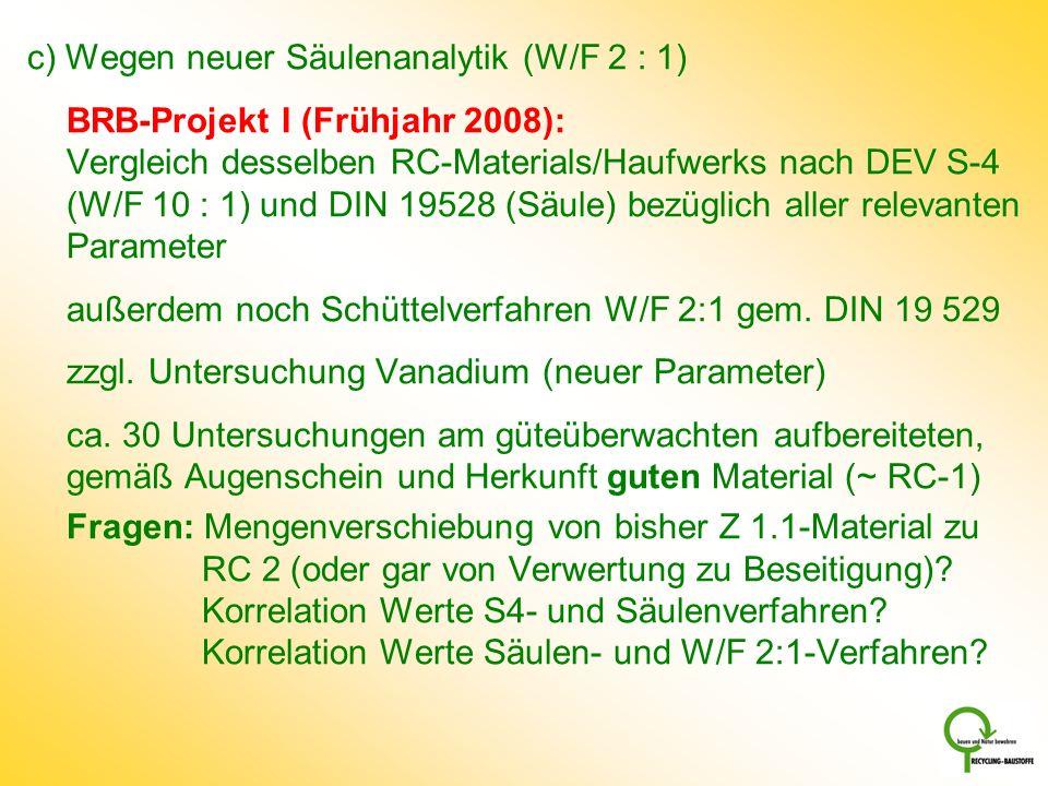 c) Wegen neuer Säulenanalytik (W/F 2 : 1) BRB-Projekt I (Frühjahr 2008): Vergleich desselben RC-Materials/Haufwerks nach DEV S-4 (W/F 10 : 1) und DIN