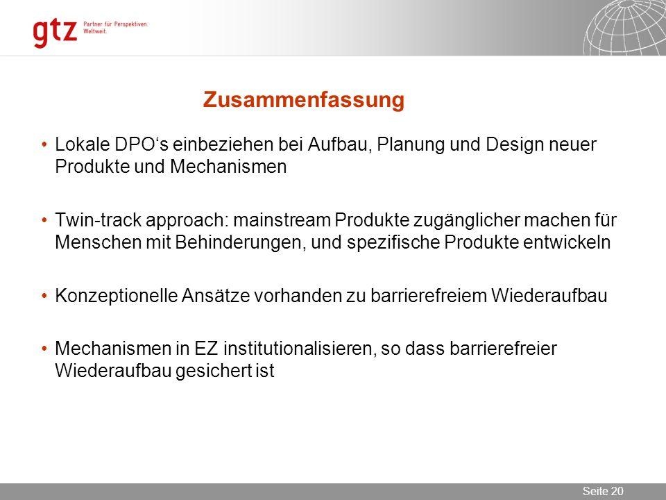 02.11.2013 Seite 20 Seite 20 Zusammenfassung Lokale DPOs einbeziehen bei Aufbau, Planung und Design neuer Produkte und Mechanismen Twin-track approach