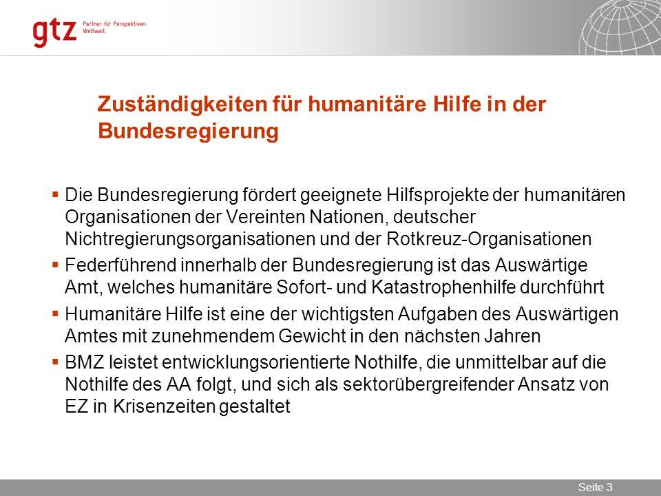 02.11.2013 Seite 3 Seite 3 Zuständigkeiten für humanitäre Hilfe in der Bundesregierung Die Bundesregierung fördert geeignete Hilfsprojekte der humanit