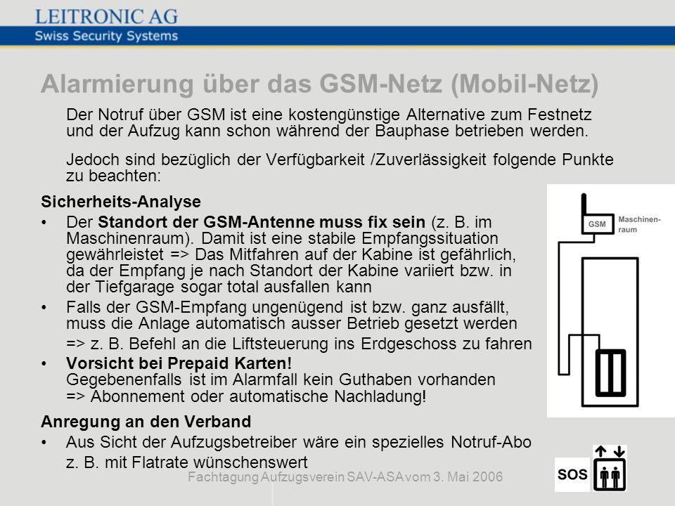Fachtagung Aufzugsverein SAV-ASA vom 3. Mai 2006 Alarmierung über das GSM-Netz (Mobil-Netz) Der Notruf über GSM ist eine kostengünstige Alternative zu