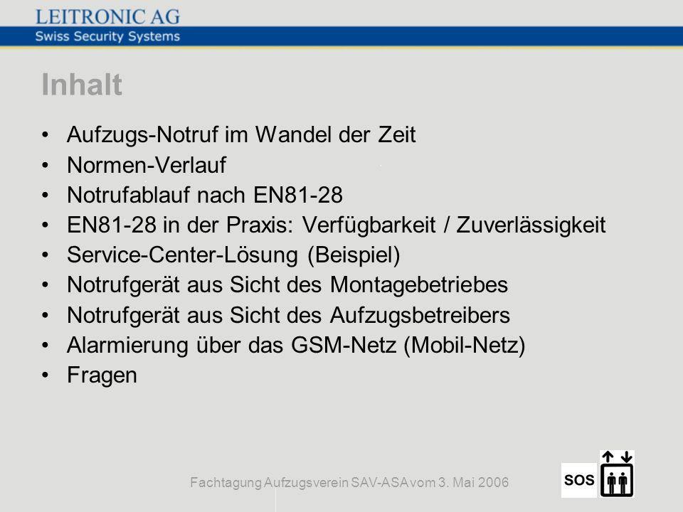 Fachtagung Aufzugsverein SAV-ASA vom 3. Mai 2006 Inhalt Aufzugs-Notruf im Wandel der Zeit Normen-Verlauf Notrufablauf nach EN81-28 EN81-28 in der Prax
