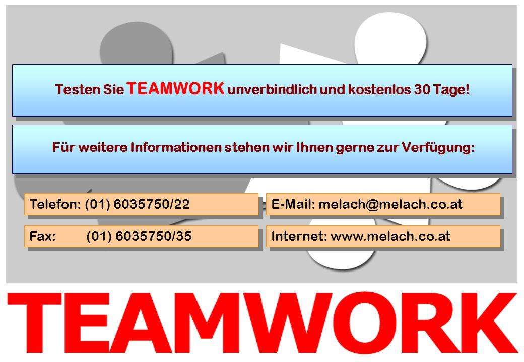 Testen Sie TEAMWORK unverbindlich und kostenlos 30 Tage! Für weitere Informationen stehen wir Ihnen gerne zur Verfügung: Telefon: (01) 6035750/22 Fax: