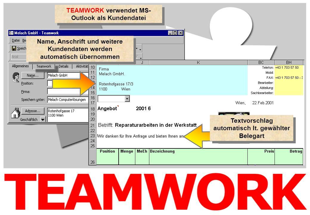 TEAMWORK verwendet MS- Outlook als Kundendatei Name, Anschrift und weitere Kundendaten werden automatisch übernommen Textvorschlag automatisch lt. gew
