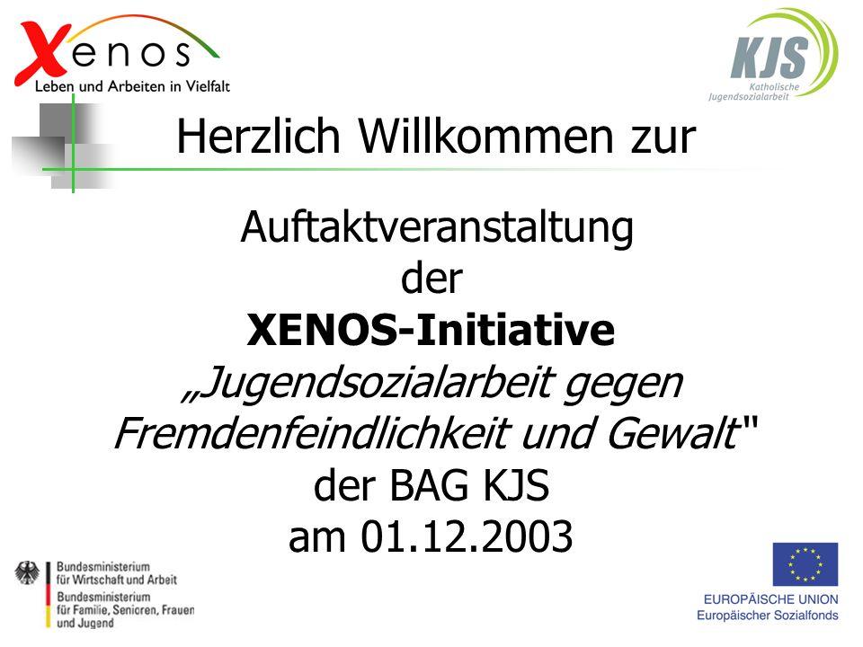 Auftaktveranstaltung der XENOS-Initiative Jugendsozialarbeit gegen Fremdenfeindlichkeit und Gewalt der BAG KJS am 01.12.2003 Herzlich Willkommen zur