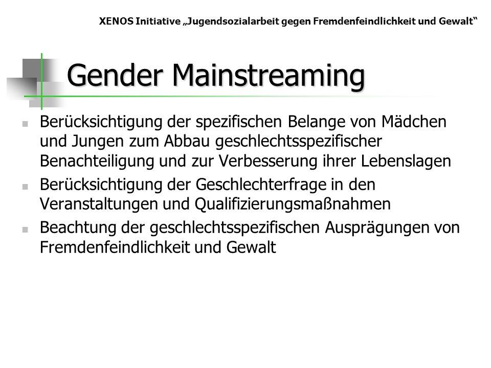 Gender Mainstreaming Berücksichtigung der spezifischen Belange von Mädchen und Jungen zum Abbau geschlechtsspezifischer Benachteiligung und zur Verbes