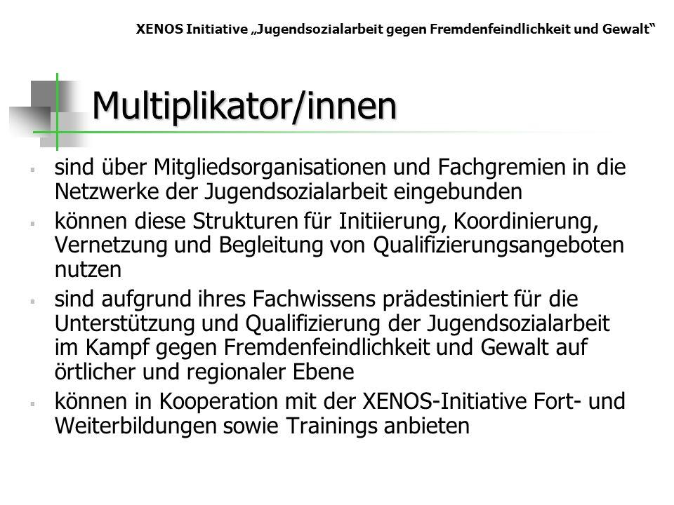 Multiplikator/innen sind über Mitgliedsorganisationen und Fachgremien in die Netzwerke der Jugendsozialarbeit eingebunden können diese Strukturen für