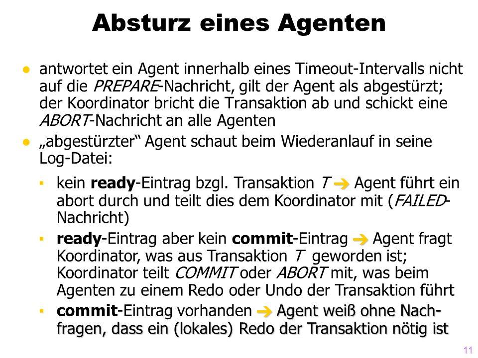 11 Absturz eines Agenten antwortet ein Agent innerhalb eines Timeout-Intervalls nicht auf die PREPARE-Nachricht, gilt der Agent als abgestürzt; der Ko